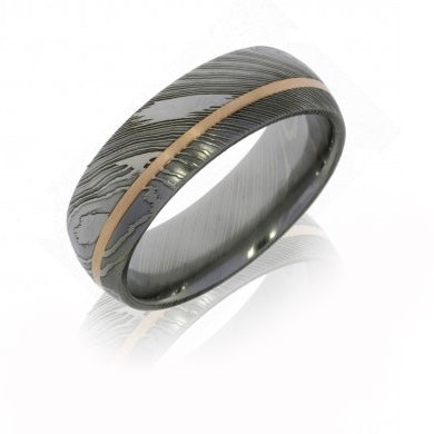 Men's Damascus Steel Band with 14K Rose Gold Inlay