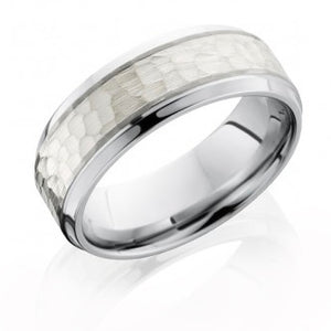 Men's Cobalt Chrome Band with Beveled Edges & Sterling Silver Inlay