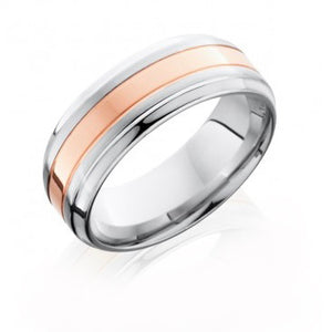 Men's Cobalt Chrome Flat Band with 14K Rose Gold Inlay