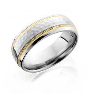 Men's Cobalt Chrome Hammer Polished Band with 14k Gold Milgrain