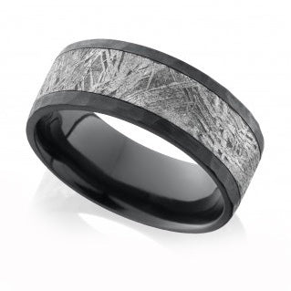 Men's Zirconium Band with Meteorite Inlay