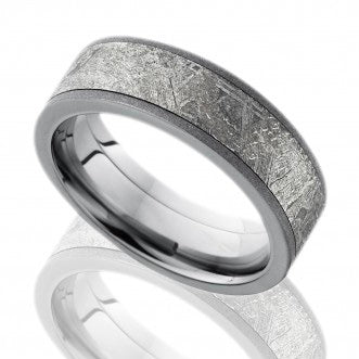 Men's Titanium Flat Band with Meteorite Inlay