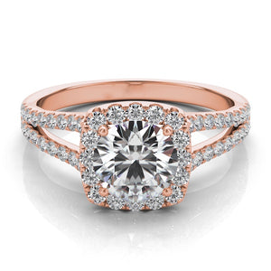 Cushion Diamond Halo Engagement Ring in 14k Gold