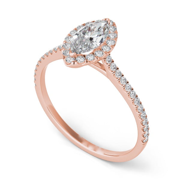 14k Rose Gold Marquise Diamond Halo & Band Setting