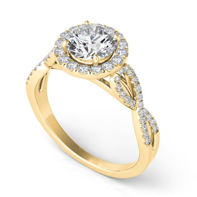 Diamond Halo Engagement Ring in 14k Gold