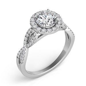 14k White Gold Diamond Halo & Criss Cross Setting