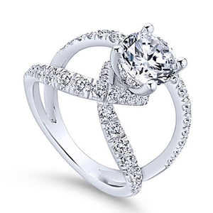 Diamond Fashion Engagement Ring in 14k Gold 1.00 ct total weight side diamonds