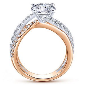 Two Tone Diamond Engagement Ring in 14k Gold