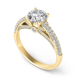 Diamond Engagement Ring with Diamond Band in 14k Gold