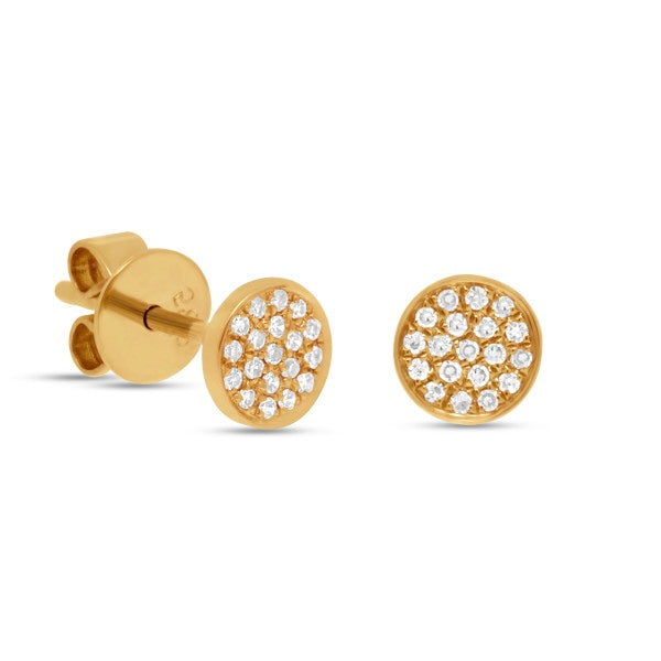 Pave Diamond Disk Stud Earrings in 14k Gold