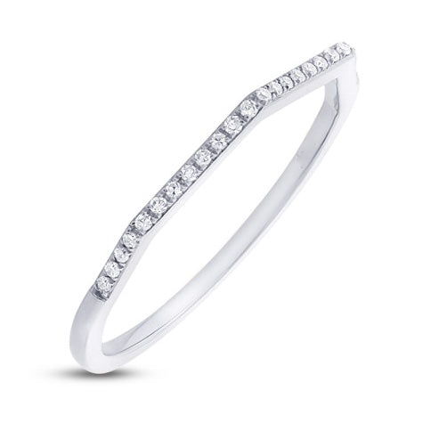 14k White Gold Diamond Angled Band