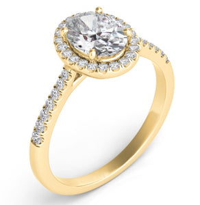 14k Gold Diamond Oval Halo Setting