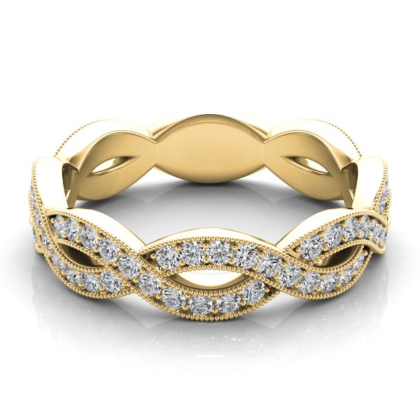 14k Gold Diamond Criss Cross Band