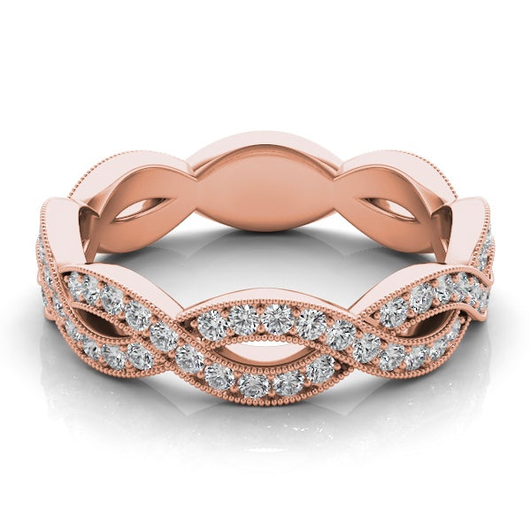 14k Rose Gold Diamond Criss Cross Band