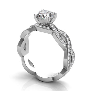 14k White Gold Diamond Criss Cross Engagement Ring Setting