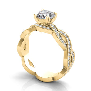 14k Gold Diamond Criss Cross Engagement Ring Setting