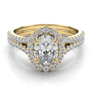 14k Gold Diamond Halo and Band Setting for Oval Stone