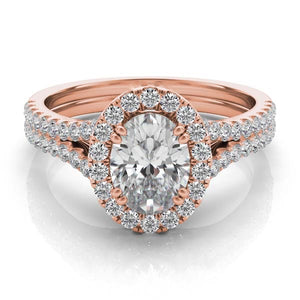 Oval Diamond Halo Engagement Ring in 14k Gold