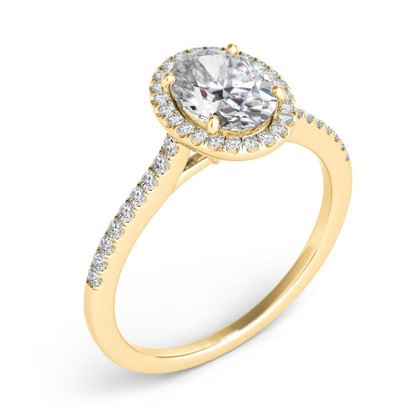 14k Gold Diamond Halo & Slim Band Setting for Oval Stone