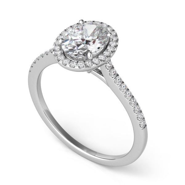 14k White Gold Diamond Halo & Slim Band Setting for Oval Stone