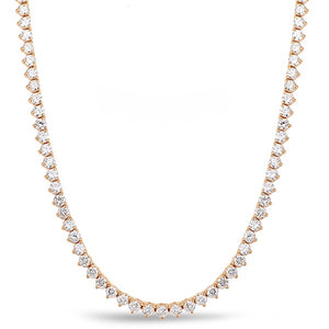 14k Rose Gold Diamond Three Prong Necklace