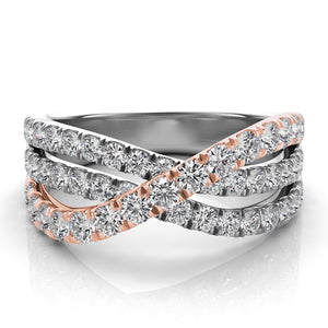 14k Rose & White Gold with Diamonds Three Band Wrap Ring