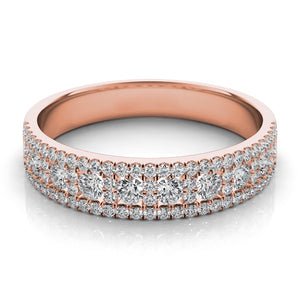14k Rose Gold & Diamond Wedding Band