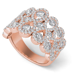 14k Rose Gold Diamond Infinities Wide Band