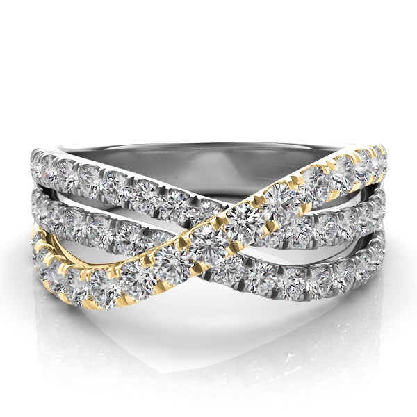 14k Gold & White Gold with Diamonds Three Band Wrap Ring