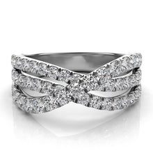 14k White Gold with Diamonds Three Band Wrap Ring