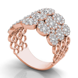 14k Rose Gold Diamonds Multiple Halo Wide Band Ring