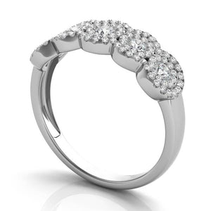 14k White Gold with Diamonds Five Halos Ring