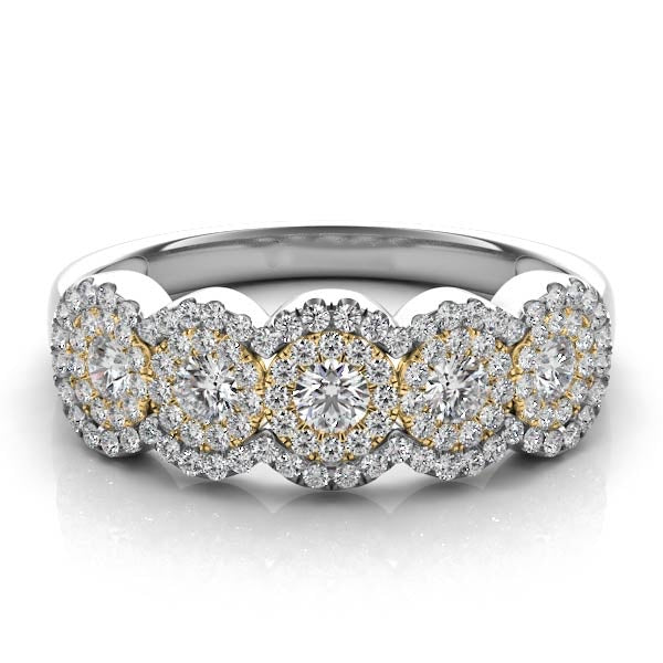 14k Gold & White Gold with Diamonds Five Halos Ring