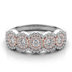 Five Diamond Halo Anniversary Band in 14k Gold