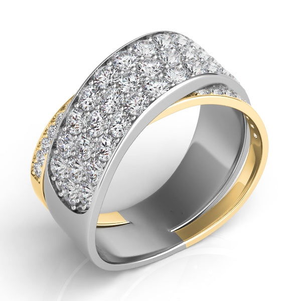 Two Tone Pave Diamond Wrap Band in 14k Gold