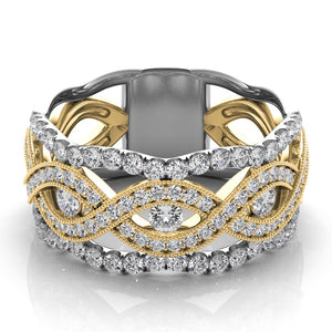 14k Gold & White Gold Diamond Open Weave Band