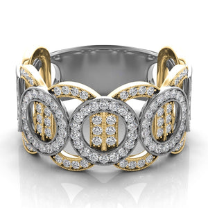 14k Gold & White Gold Diamond Band of Circles