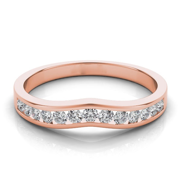 Diamond Curved Band with Channel Set Diamonds in 14k