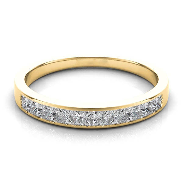 Square cut Diamond Wedding Band in 14k Gold