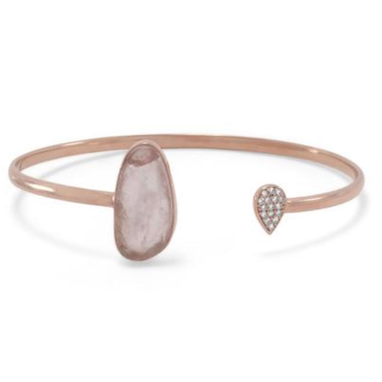 Rose Quartz and Pave CZ Bangle Bracelet in 14k Gold Vermeil