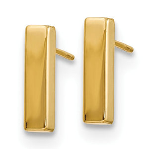 Bar Stud Earrings (High Polish) 14k Gold