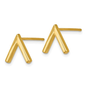 """V"" Stud Earrings (High Polish) 14k Gold"