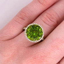 Peridot Diamond Halo Ring, 14K Yellow Gold Halo Cathedral Round 7.29 ct Gem Ring