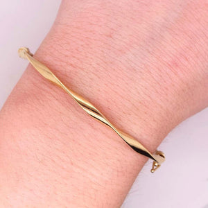 Twisted Bangle Bracelet, Hinged Clasp, Rope Yellow Gold Oval Bangle
