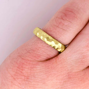 Gold Band Ring, Hammered, Yellow Gold, Handmade, Wedding Band, Stackable