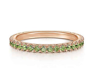Genuine Peridot Gemstone Stackable 3/4 Band