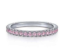 Genuine Pink Sapphire Gemstone Stackable 3/4 Band