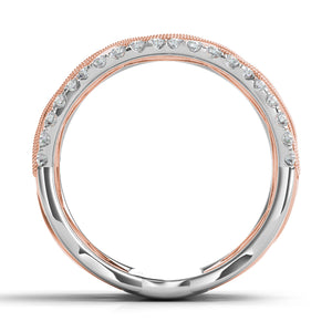 Two Tone Diamond Band in 14k