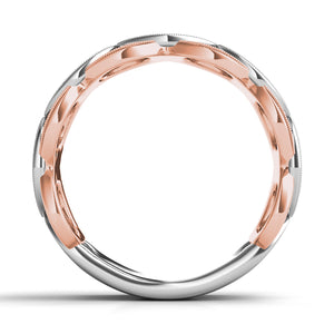 14k Rose & White Gold Diamond Band of Circles