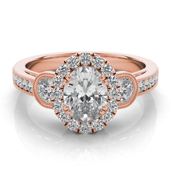Oval Diamond Halo Engagement Ring with Side Diamonds and Diamond Band in 14k Gold